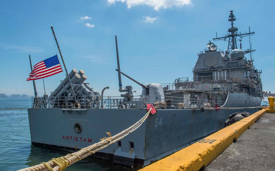 The Ticonderoga-class guided-missile cruiser USS Antietam (CG 54) during a scheduled port visit to Manila in 2016.
