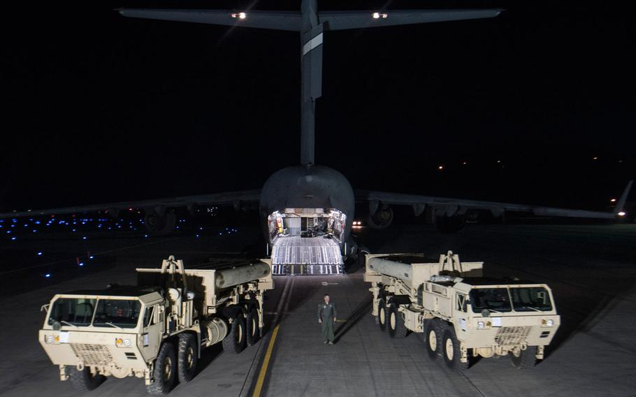 The first parts of the Terminal High Altitude Area Defense system known as THAAD arrived at Osan Air Base on the divided peninsula shortly after Pyongyang launched four ballistic missiles into the sea near Japan on Monday.