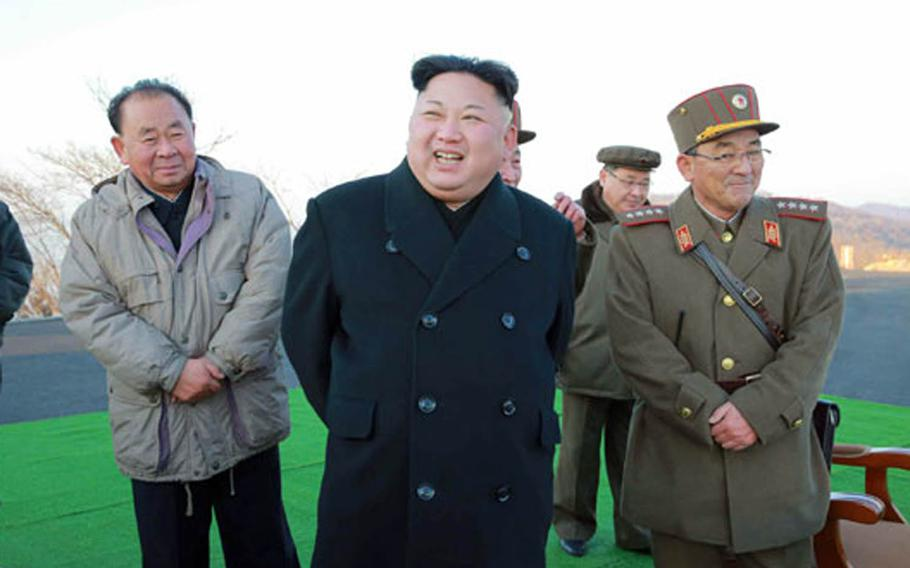 The Tuesday, March 7, 2017, edition of North Korea's official Rodong Sinmun newspaper published several undated photos of the country's March missile launch, as well as photos of North Korean leader Kim Jong Un reportedly overseeing the test.