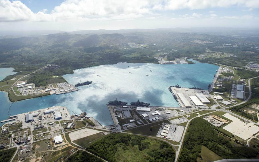 An aerial view of Naval Base Guam.