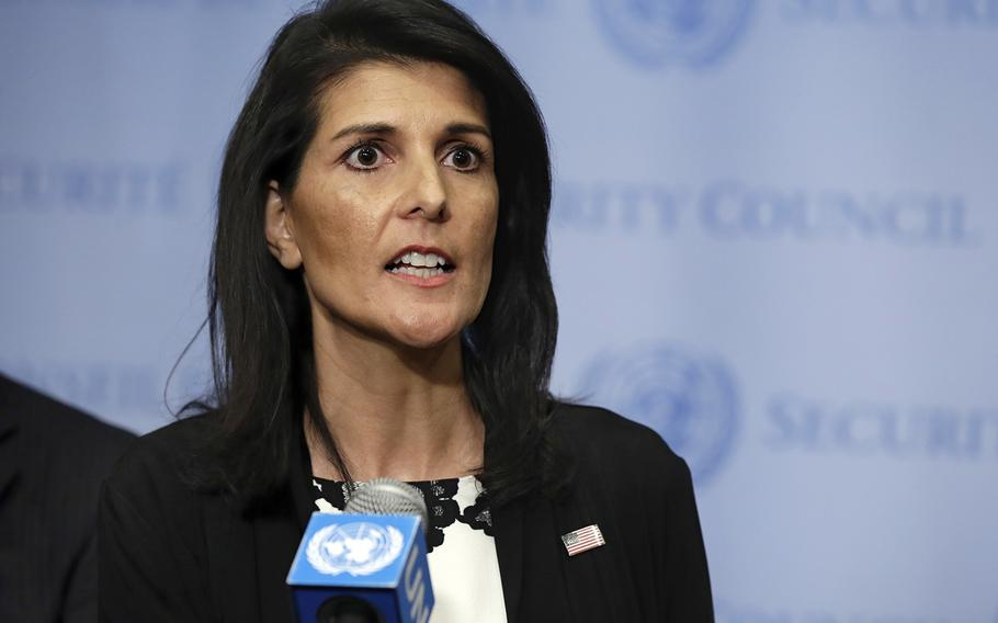 U.S. Ambassador Nikki Haley addresses a news conference after consultations of the United Nations Security Council, Wednesday, March 8, 2017.