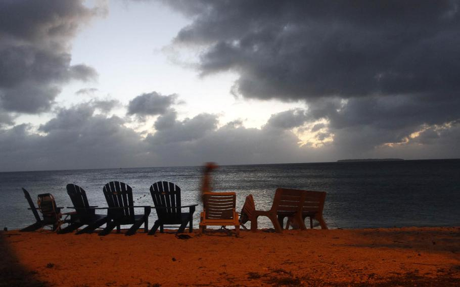 A cloudy sunset as seen from Emon Beach on Kwajalein Island in the Pacific Ocean.