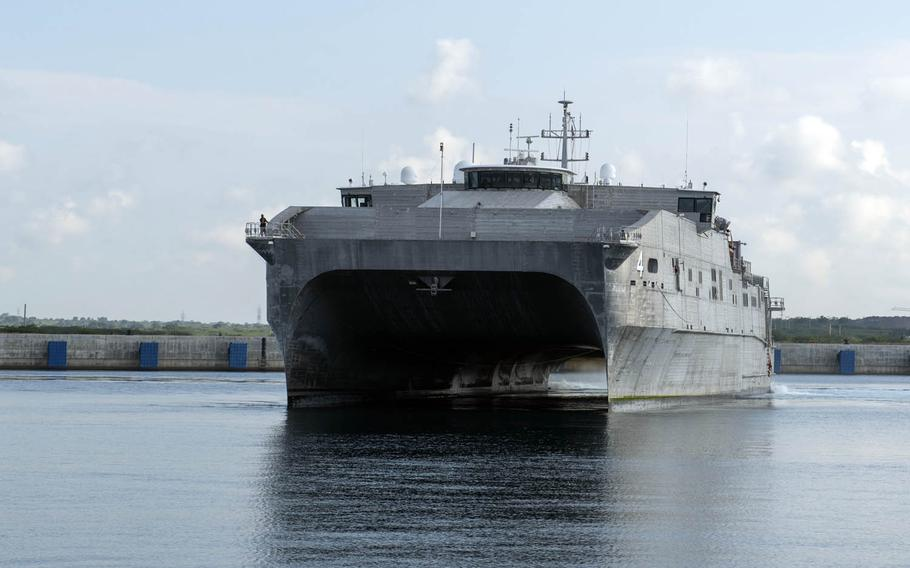 The expeditionary fast transport ship USNS Fall River arrives in Hambantota, Sri Lanka, for a Pacific Partnership mission, March 7, 2017.