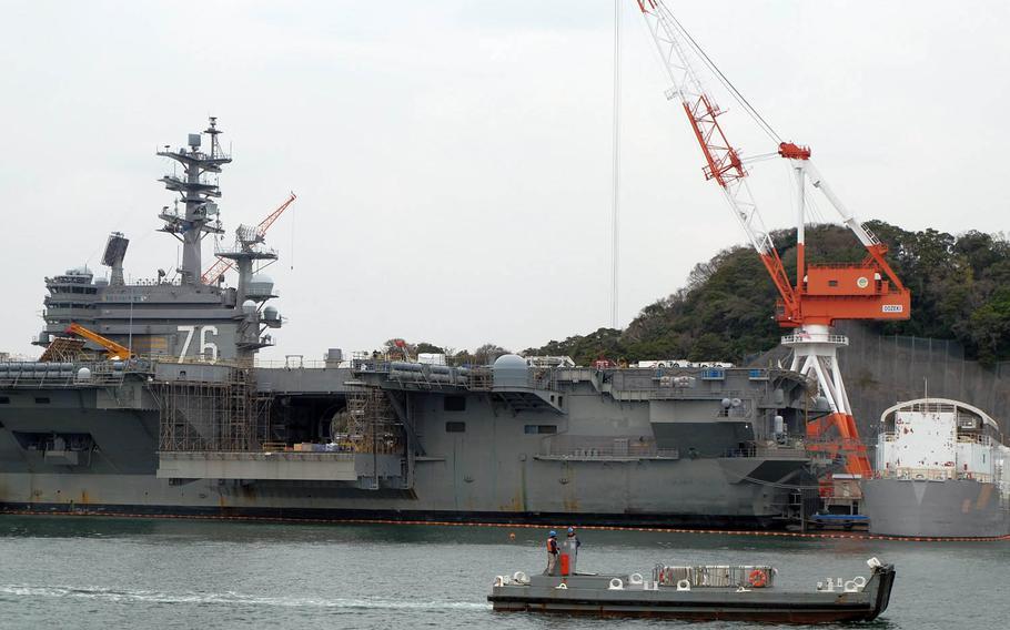 The USS Ronald Reagan in port at Yokosuka Naval Base, Japan, Friday, March 31, 2017.