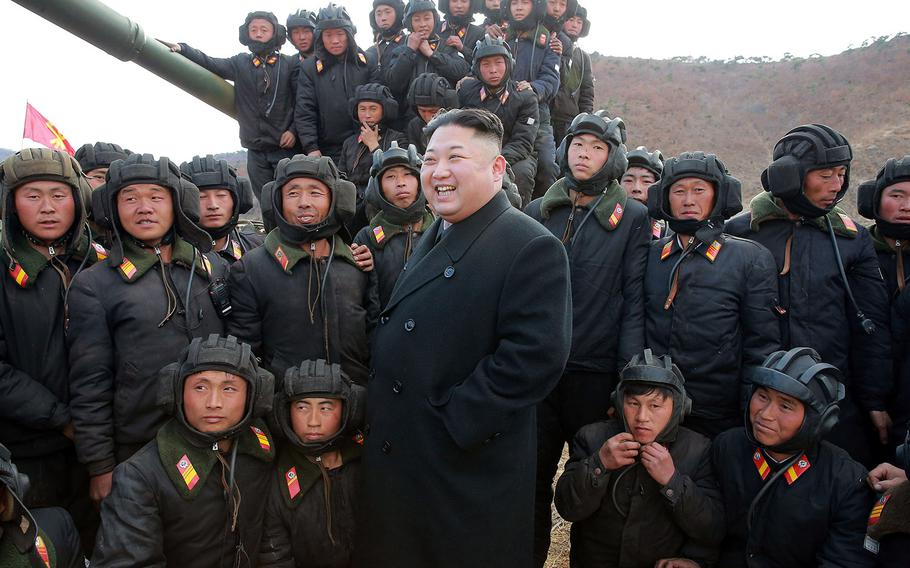 Kim Jong Un attends the Korean People's Army Tank Crews' Competition on April 1, 2017 in Pyongyang, North Korea.