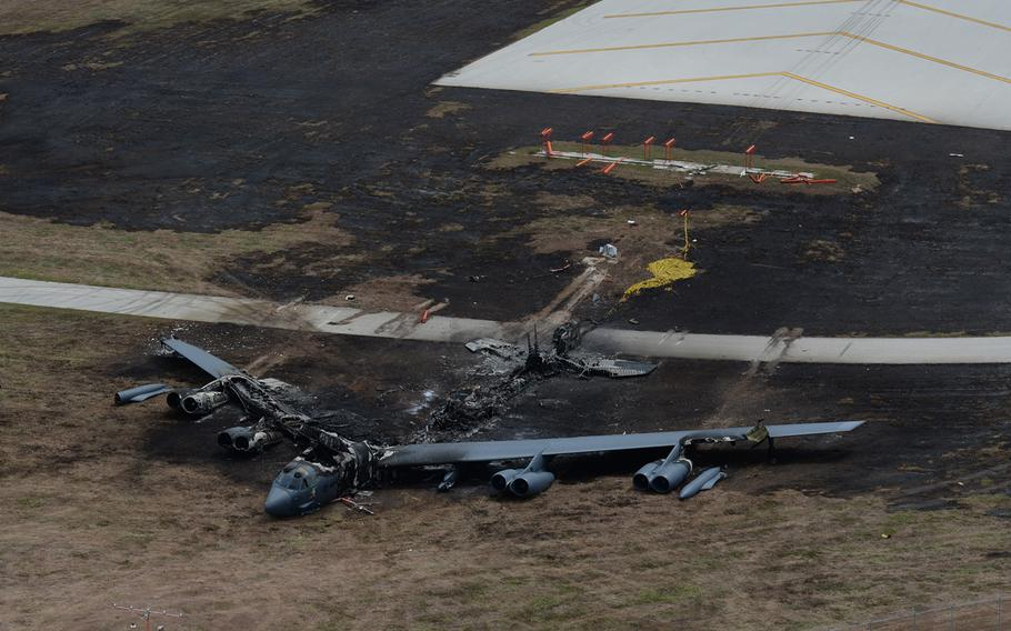 A B-52H was destroyed in a fire after an aborted takeoff at Andersen Air Force Base in Guam on May 19, 2016. The Air Force determined in a recently released investigation the incident was caused by mechanical failures. The incident resulted in minor injury to one crew member and no fatalities.