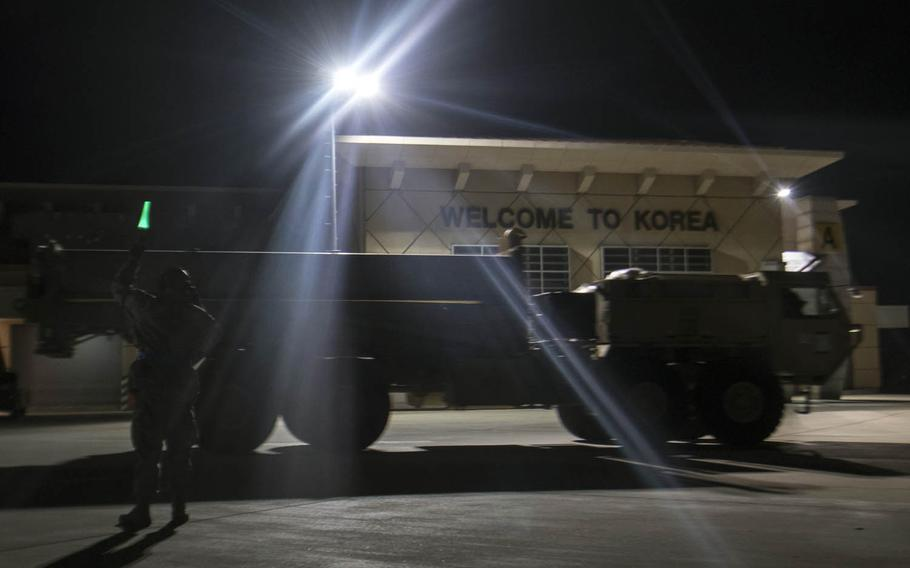 The first elements of a Terminal High Altitude Area Defense system arrive in South Korea in March. Washington and Seoul began installing the advanced U.S. missile defense system on Wednesday, April 26, 2017.
