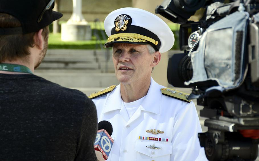 Rear Adm. Phillip G. Sawyer, deputy commander, U.S. Pacific Fleet, shown here in 2016 talking with a reporter in Albuquerque, N.M., was nominated by the Navy to assume command of the U.S. 7th Fleet on May 17, 2017.