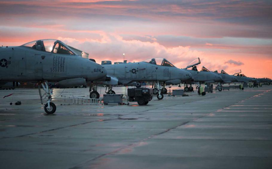 A-10 Thunderbolt II aircraft prepare for flight March 21, 2017,  at the 124th Fighter Wing, Boise, Idaho.