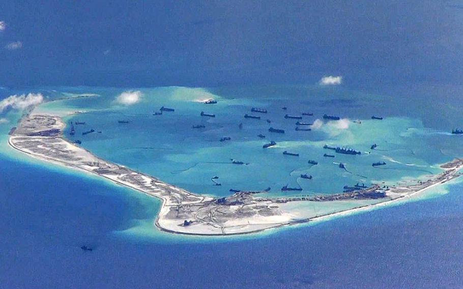 Subi Reef, part of the Spratly chain of islets in the South China Sea, is seen in May 2015.