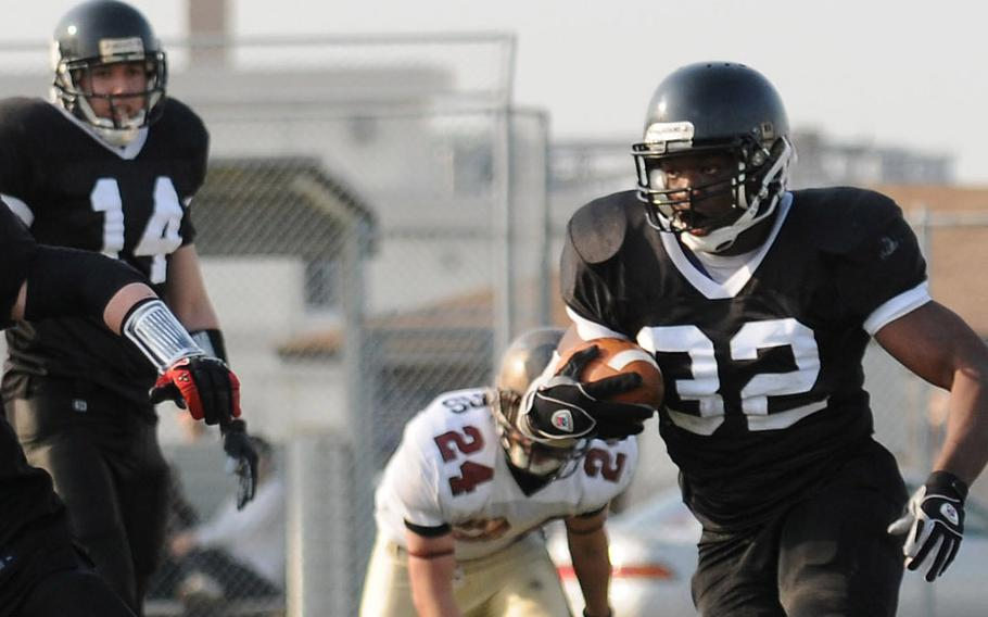 Players compete during an April 12, 2010, U.S. Forces Japan-American Football League game in Yokosuka, Japan. On Saturday, June 10, 2017, the Kadena Dragons beat the Hansen Outlaws 26-0 to win the championship title game.