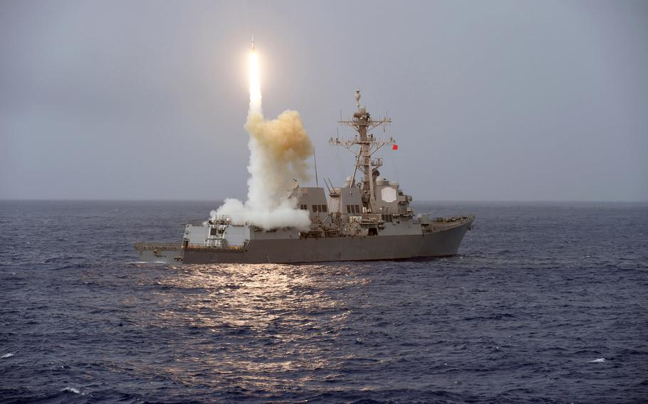 The guided-missile destroyer USS Fitzgerald (DDG 62) launches a missile from the aft missile deck during Multisail 17 on March 17, 2017.