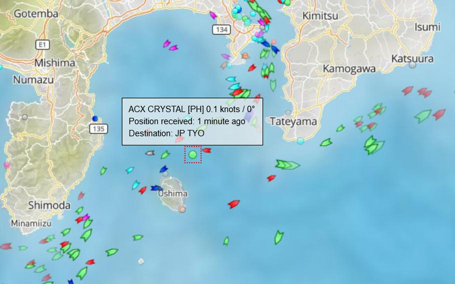 The ACX Crystal, shown here on a satellite map at about 10:30 on June 17, 2017, was reportedly involved in a collision with the destroyer USS Fitzgerald during early morning hours. Marine traffic heading out of Tokyo Bay is normally heavy.