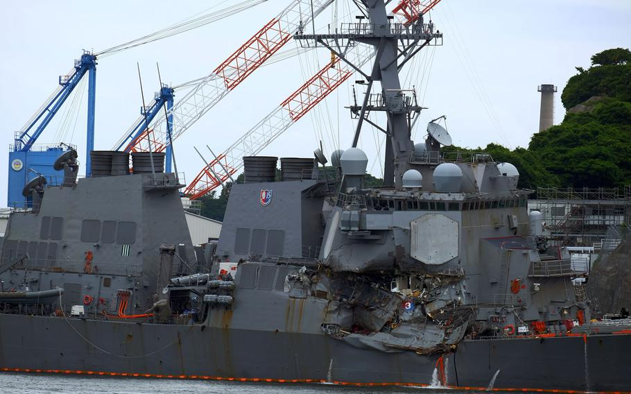 The USS Fitzgerald sits at Yokosuka Bay, on June 18, 2017, after a collision with a merchant ship on June 17.
