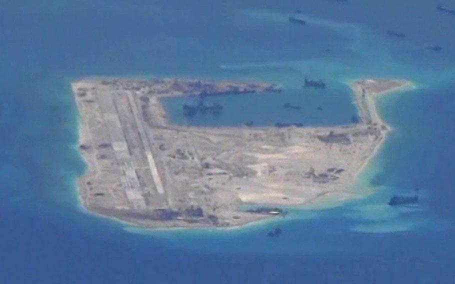 An aerial view of Fiery Cross Reef in the South China Sea from 2015.