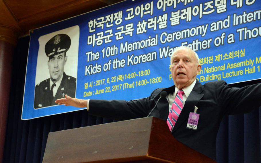 The Rev. Russell Carter Blaisdell speaks during a ceremony honoring his father and namesake in Seoul, South Korea, June 22, 2017. The late Col. Russell Blaisdell is credited with saving nearly 1,000 Korean War orphans by organizing an airlift known as Operation Kiddy Car on Dec. 20, 1950.