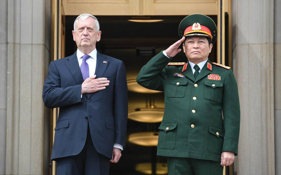 Secretary of Defense Jim Mattis, left, met with Ngo Xuan Lich, Vietnam's defense minister, to discuss further steps in their mutual defense relationship and regional security challenges at the Pentagon, Tuesday, Aug. 8, 2017.