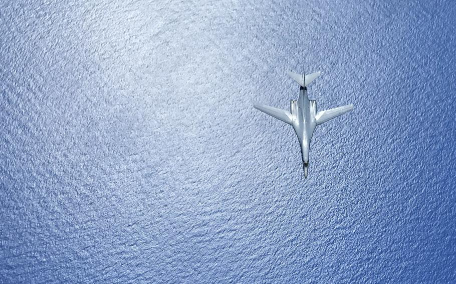 A U.S. Air Force B-1B Lancer assigned to the 37th Expeditionary Bomb Squadron, deployed from Ellsworth Air Force Base, S.D., during a 10-hour mission from Andersen Air Force Base, Guam, flying in the vicinity of Kyushu, Japan, the East China Sea, and the Korean peninsula, Aug. 7, 2017