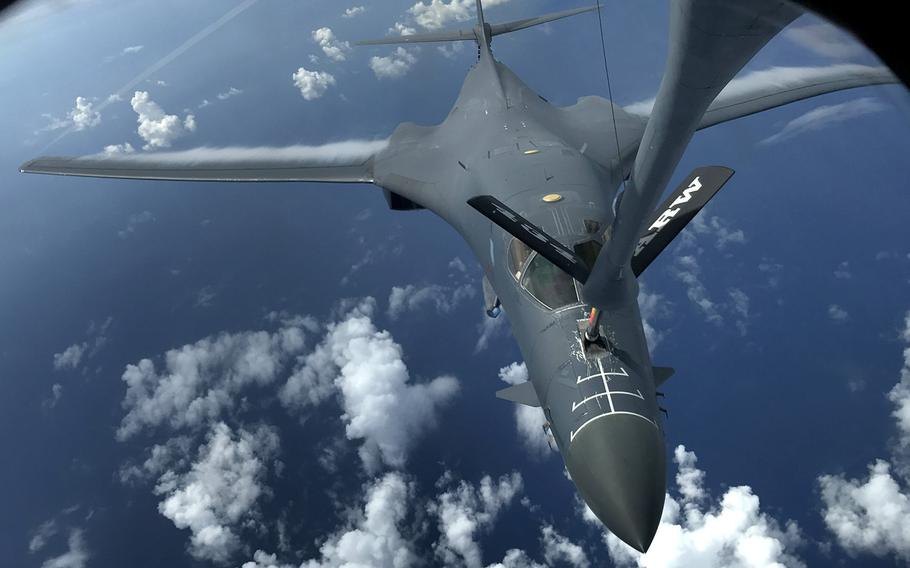 A U.S. Air Force B-1B Lancer assigned to the 37th Expeditionary Bomb Squadron, deployed from Ellsworth Air Force Base, South Dakota, refuels during a 10-hour mission from Andersen Air Force Base, Guam, flying in the vicinity of Kyushu, Japan, the East China Sea, and the Korean peninsula, Aug. 7, 2017.