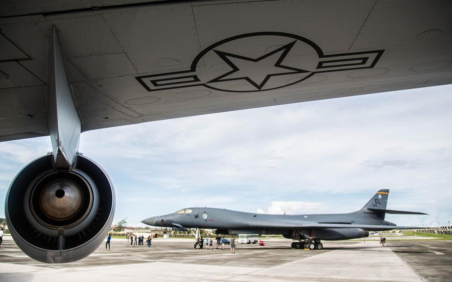 A B-1B Lancer supersonic bomber sits on the flight  line at Andersen Air Force Base, Guam, Thursday, Aug. 17, 2017.