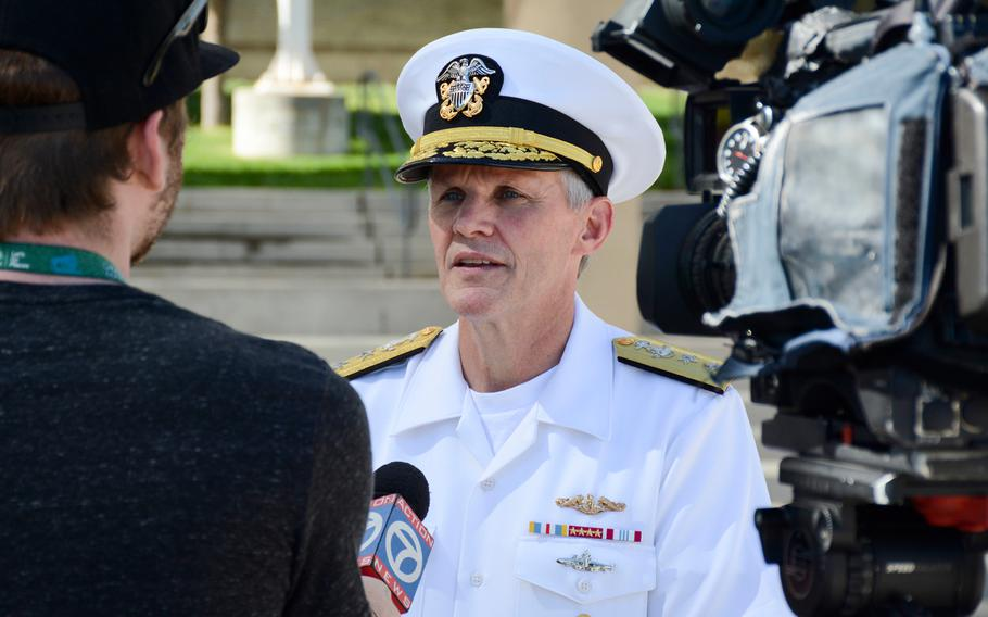 Vice Adm. Phillip G. Sawyer gives an interview to a local Albuquerque news station at the Navy Week Albuquerque kick-off event in 2016.