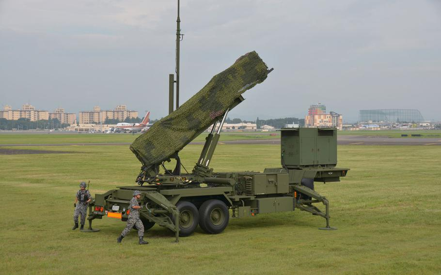Member of the Japan Air Self-Defense Force set up a Patriot missile defense battery on Yokota Air Base Aug. 29, 2017.