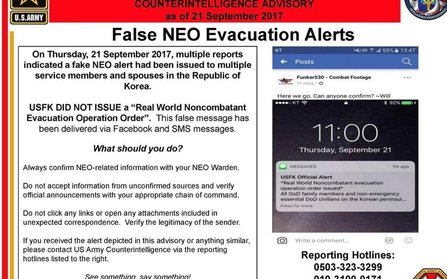 This message posted to the 8th Army's official Facebook page on Thursday, Sept. 21, 2017, warns U.S. personnel against fake evacuation orders for the Korean Peninsula.