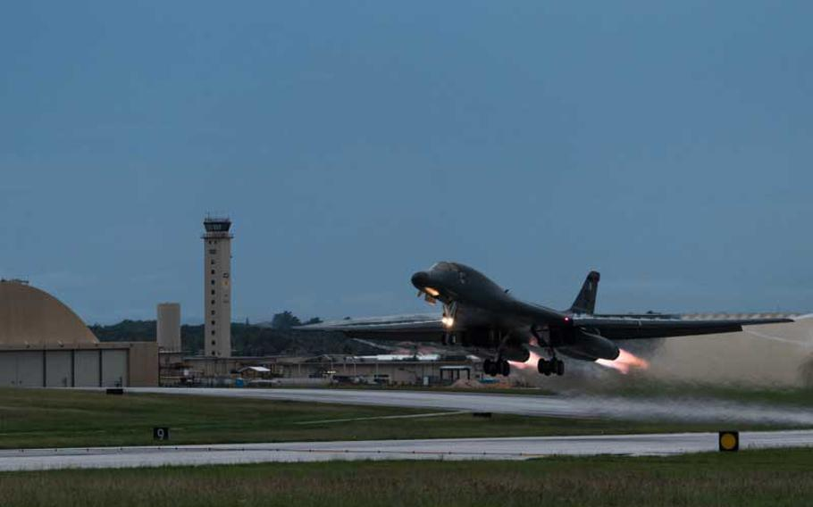 A U.S. Air Force B-1B Lancer takes off from Andersen AFB, Guam to fly sequenced bilateral missions with two Japan Air Self-Defense Force F-15s and two Republic of Korea air force F-15Ks in the vicinity of the Sea of Japan. This mission marks the first time U.S. Pacific Command B-1B Lancers have conducted combined training with JASDF and ROKAF fighters at night, demonstrating our increasing combined capabilities.