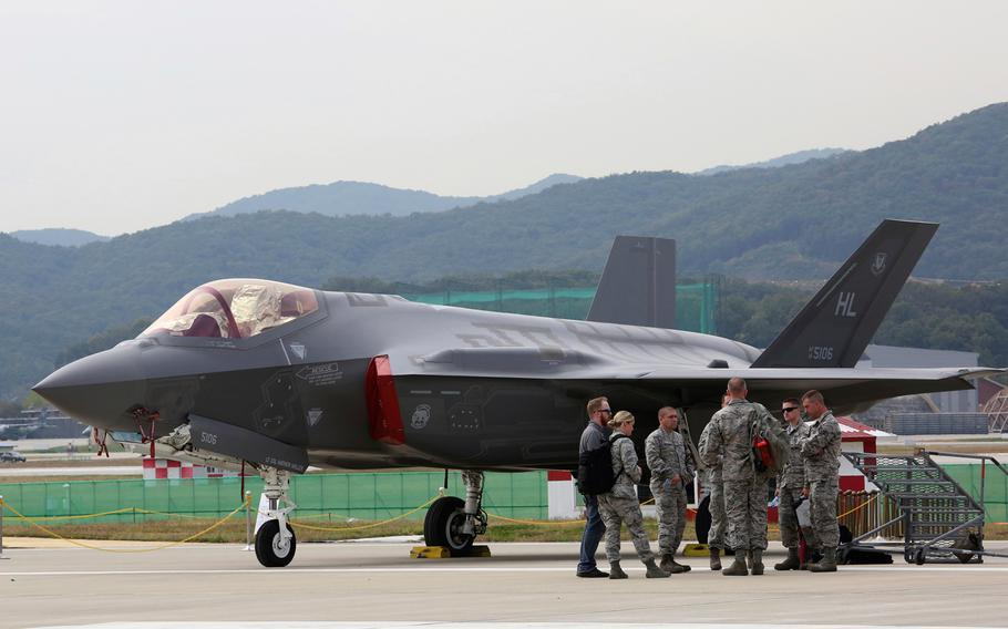 A U.S. F-35 stealth fighter is seen during the press day of the 2017 Seoul International Aerospace and Defense Exhibition at Seoul Airport in Seongnam, South Korea, Monday, Oct. 16, 2017.