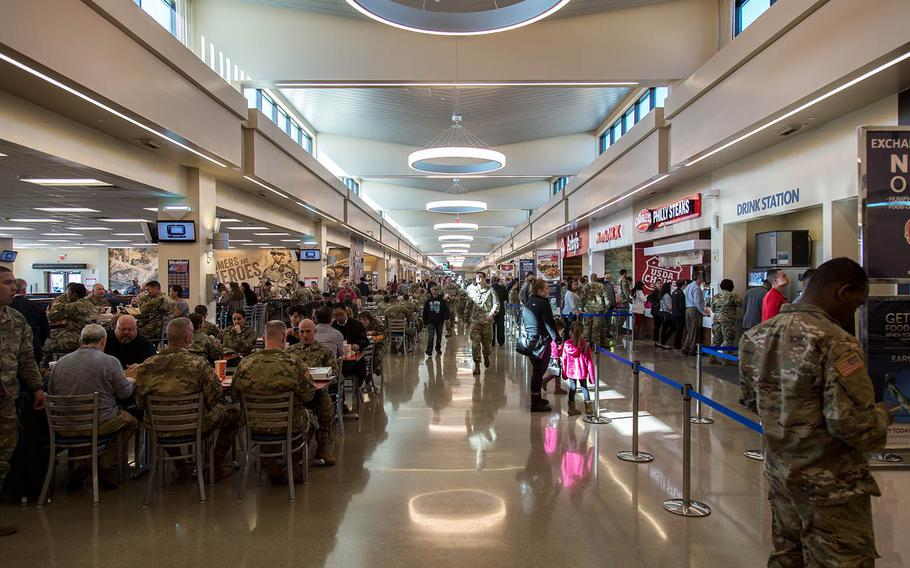 Soldiers patronize the new food court at Camp Humphreys, South Korea, Monday, Oct. 30, 2017.