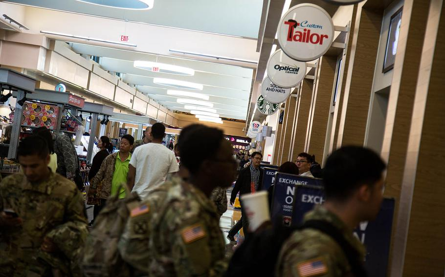 Soldiers check out some of the new shops at Camp Humphreys, South Korea, Monday, Oct. 30, 2017.
