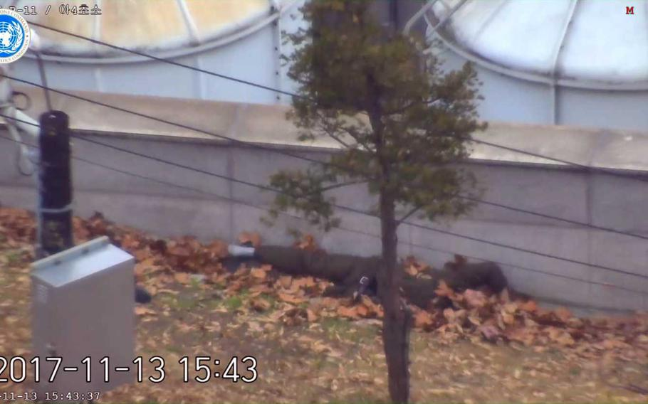 """In a video released by the United Nations Command, a North Korean defector presumed to be a member of the North Korean army, is seen under a pile of leaves in the truce village of Panjumon. He was recovered by a UNC joint security battalion consisting of U.S. and South Korean troops """"a short time"""" after running south across the Military Demarcation Line."""