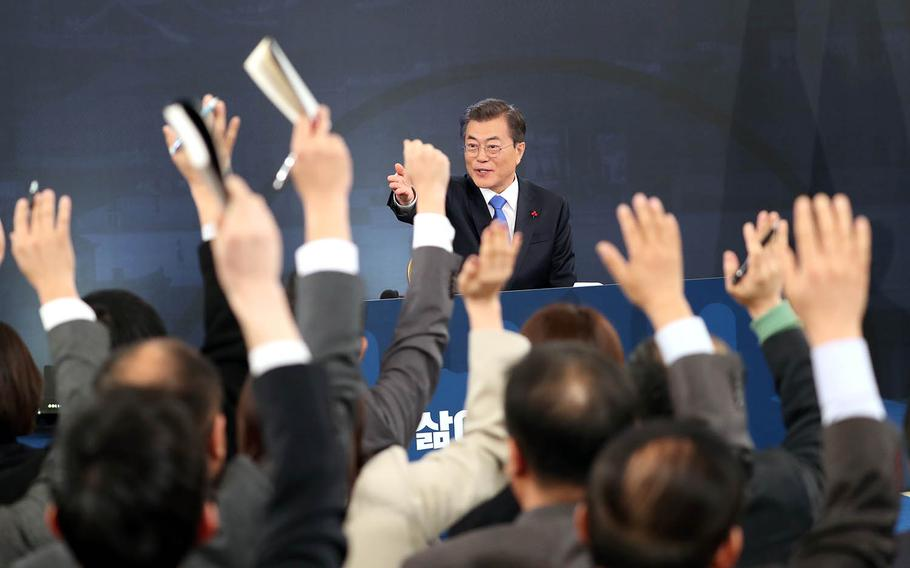 South Korean President Moon Jae-in speaks at a press conference in Seoul, South Korea, Wednesday, Jan. 10, 2017.