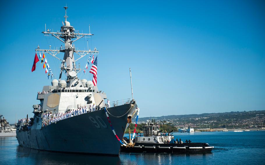 The guided-missile destroyer USS Chafee returns to Joint Base Pearl Harbor-Hickam Jan. 12, 2018, from an independent deployment to the Western Pacific and South America.