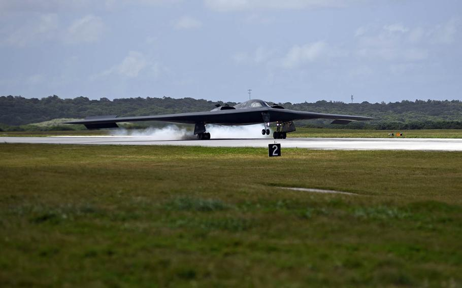 A Missouri-based B-2 Spirit bomber arrives at Andersen Air Force Base, Guam, Monday, Jan. 8, 2018.