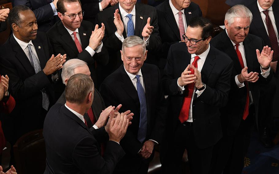 Defense Secretary Jim Mattis gets a standing ovation during the State of the Union address before a joint session of Congress on Capitol Hill in Washington, D.C. on Tuesday, Jan. 30, 2018.