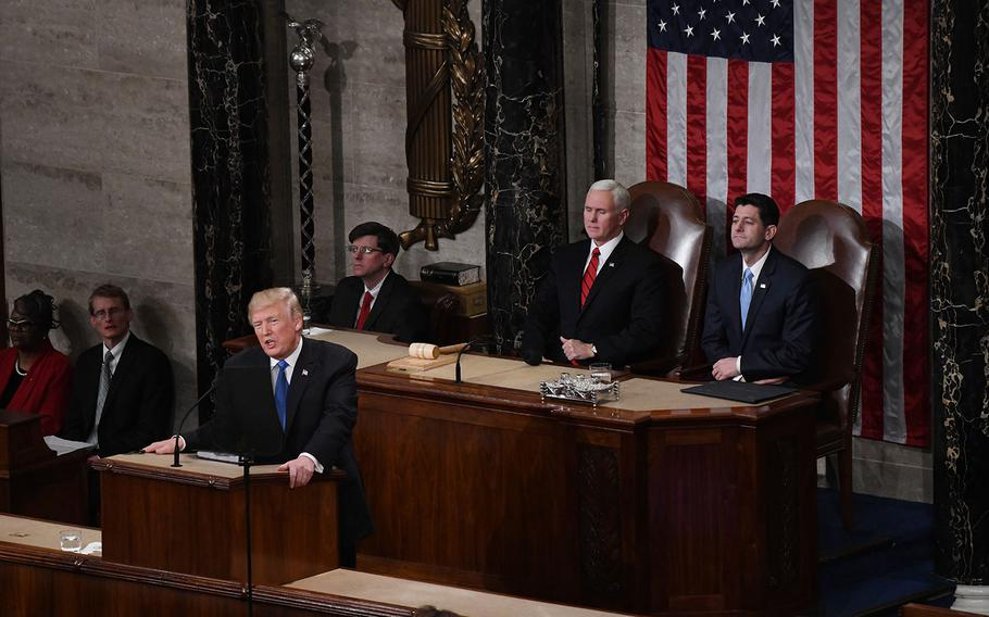 President Donald Trump delivers his first State of the Union address before a joint session of Congress on Capitol Hill in Washington, D.C. on Tuesday, Jan. 30, 2018.