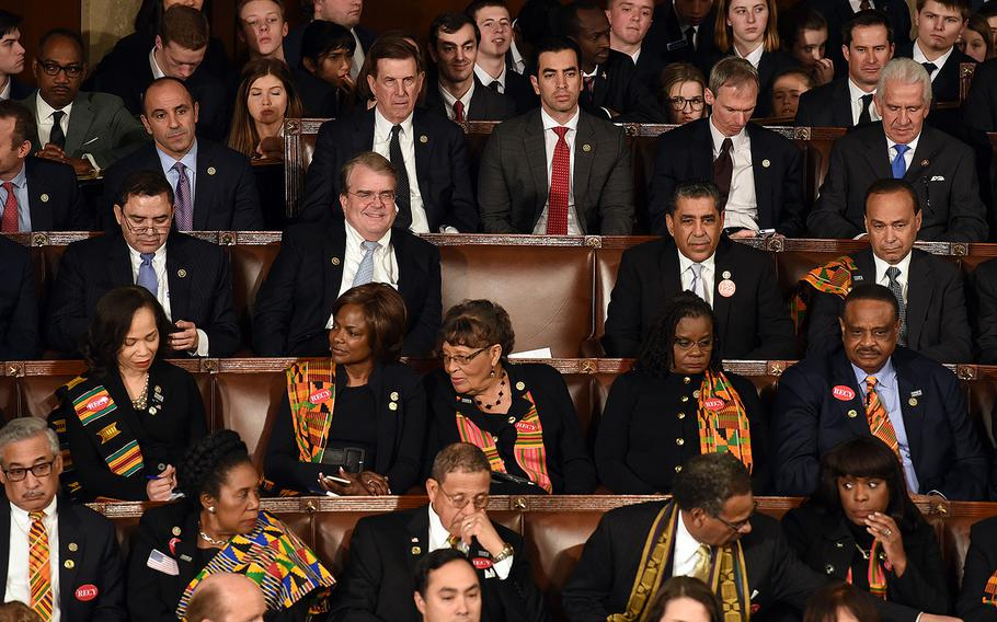 A House seat that was left empty in protest during President Donald Trump's first State of the Union address before a joint session of Congress on Capitol Hill in Washington, D.C. on Tuesday, Jan. 30, 2018.