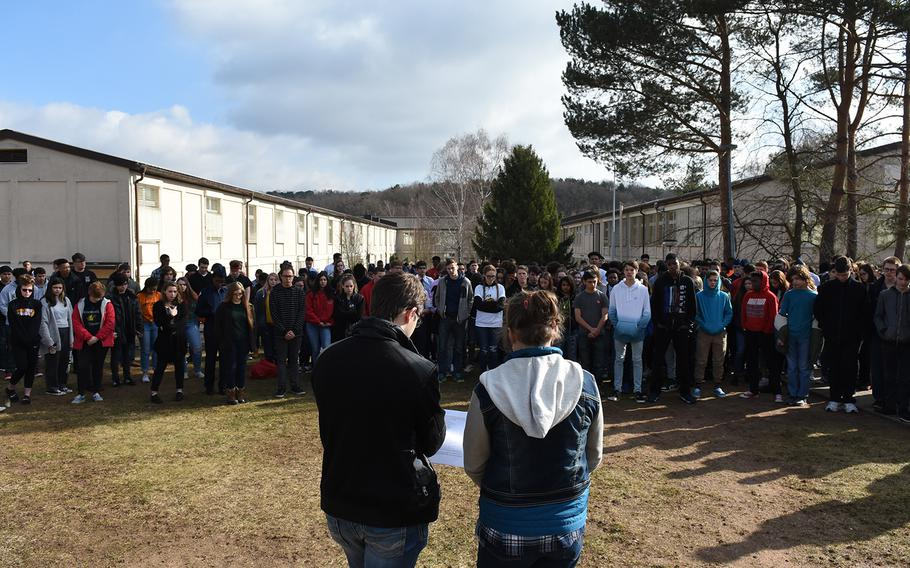 Kaiserslautern High School seniors Madeline MacMillan and Zaccary O'Neil led a walkout at their school in Germany in remembrance of the Parkland, Fla., and other school shooting victims on Wednesday, March 14, 2018.