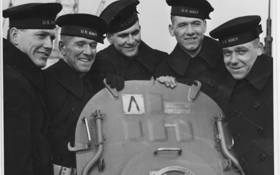 The Sullivan brothers pose aboard the USS Juneau during its commissioning ceremony in New York, Feb. 14, 1942. The brothers are, from left to right, Joseph, Francis, Albert, Madison and George.