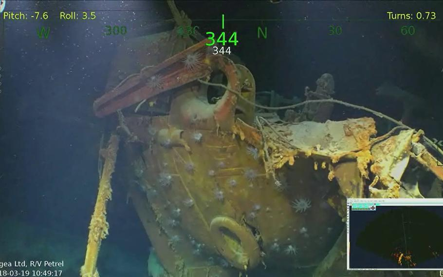 This Monday, March 19, 2018, underwater video image courtesy of Paul Allen shows wreckage from the USS Juneau, a U.S. Navy ship sunk by the Japanese torpedoes 76 years ago, found in the South Pacific.