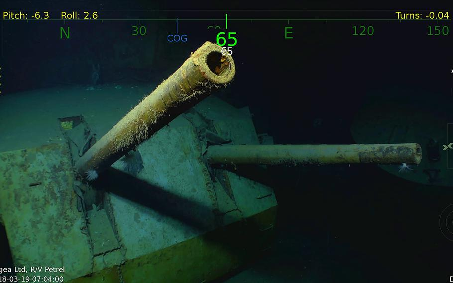 A Monday, March 19, 2018, underwater video image courtesy by Paul Allen shows wreckage from the USS Juneau, a U.S. Navy ship sunk by the Japanese torpedoes 76 years ago, found in the South Pacific.