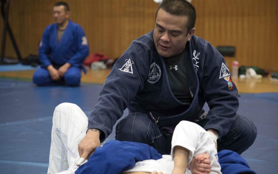 Rodrigo Gomez teaches jiu-jitsu at Misawa Air Base, Japan, Feb. 17, 2016.