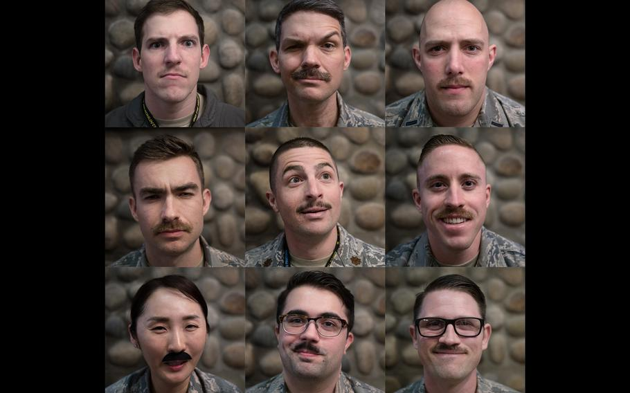 """Airmen from the 8th Fighter Wing in South Korea celebrate a legendary former commander every March by growing """"Robin Olds mustaches,"""" named after the famed fighter ace and his signature facial hair."""