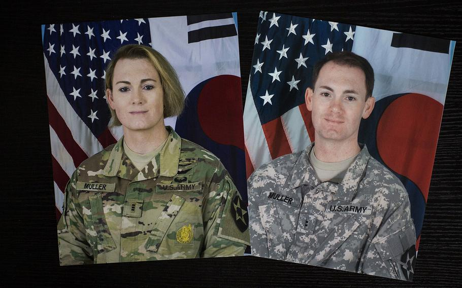 A command photo of Chief Warrant Officer 3 Lindsey Muller from last year is displayed next to a photo of her from 2011.