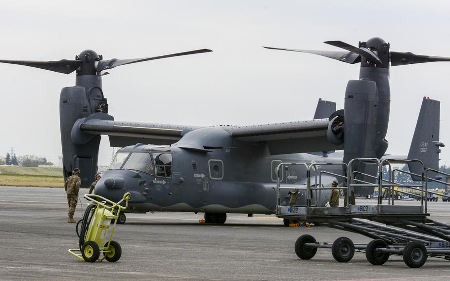 Five CV-22 Ospreys from a special operations squadron landed at Yokota Air Base, Japan, Thursday, April 5, 2018 — two years earlier than expected.