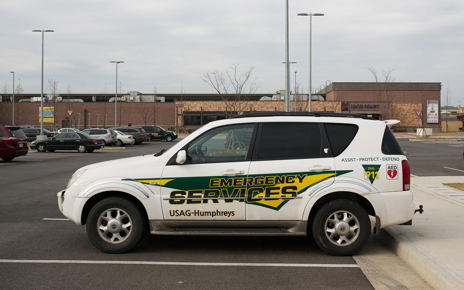 """An Emergency Services Vehicle sits outside the Post Exchange at Camp Humphreys, South Korea, after the """"all clear"""" was given during a potential active shooter event, Friday, April 13, 2018."""