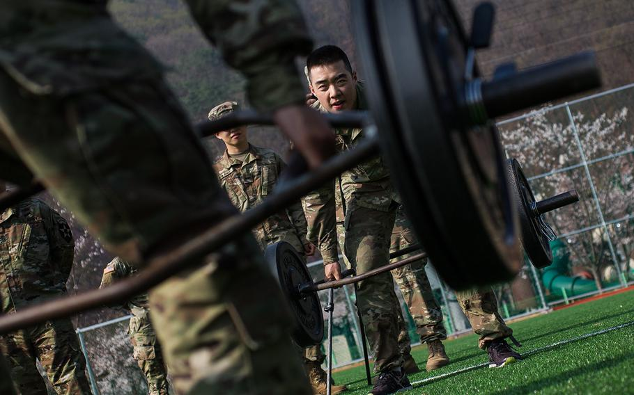 A pair of competitors face off during the 2nd Infantry Division's Best Warrior competition at Camp Casey, South Korea, Wednesday, April 11, 2018.