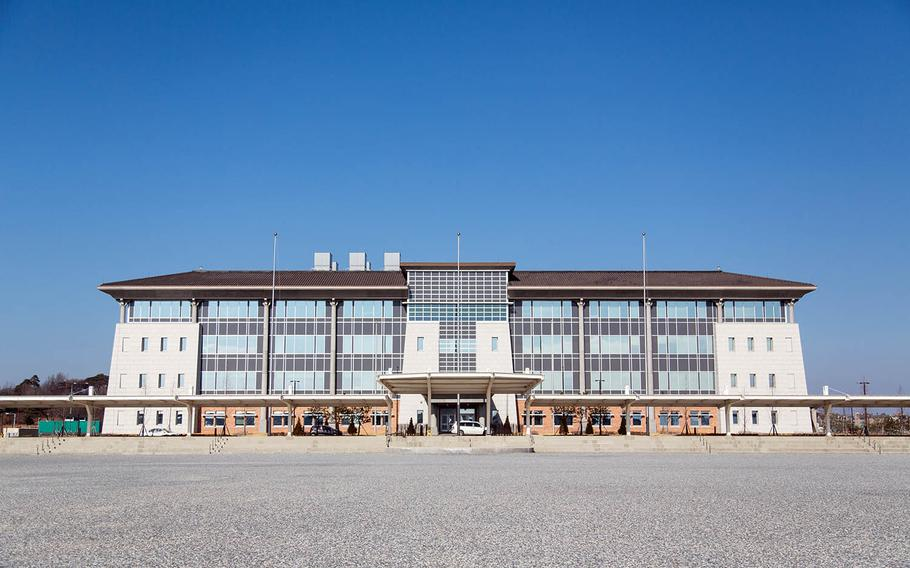 The new U.S. Forces Korea headquarters is pictured under construction last spring at Camp Humphreys, South Korea.