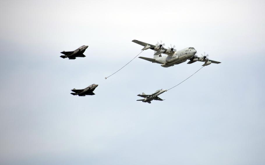 Marine Aerial Refueling Transport Squadron 152 demonstrates an aerial refueling during the 42nd annual Friendship Day at Marine Corps Air Station Iwakuni, Japan, Saturday, May 5, 2018.